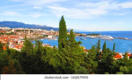 Split / Croatia - July 14, 2016: Aerial panorama view of ancient roman city of Split from Marjan Hill viewpoint, Dalmatia, Croatia. Adriatic Coast on a sunny day.