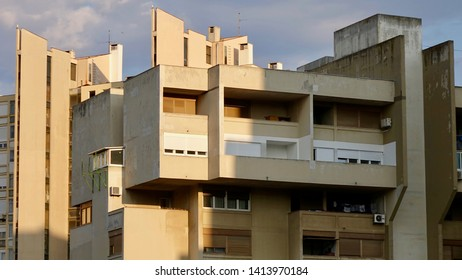 SPLIT, CROATIA - JULY 18, 2018: Split is the second largest city of Croatia, full of concrete utopia of Yugoslav architecture built in the 70s in Split 3, also displayed at MoMA's.