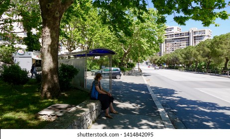 SPLIT, CROATIA - JULY 18, 2018: Student Home Split also known as Ucenicki dom Split is located in town region Split-3 next to School of  Design and Graphics.