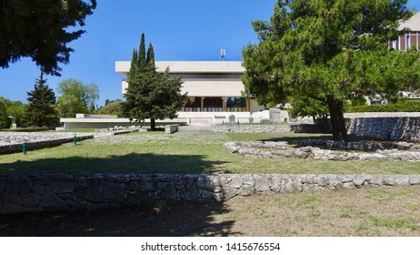 SPLIT, CROATIA - JULY 18, 2018: The Museum of Croatian Archaeological Monuments in Split contains Croatian cultural artifacts from the medieval period.