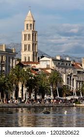 Split, Croatia, July 24, 2018: Split, the largest city in Dalmatia, is an intraregional transport hub and a popular tourist destination.