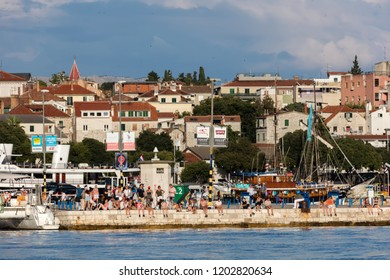 Split, Croatia, July 24, 2018: The Port of Split in Croatia, originally a trading post established by Greek settlers from the island of Vis and subsequently taken over by the Romans.