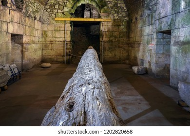 Split, Croatia, July 24, 2018: Original wooden beam in the Diocletian's Palace. The palace, built in the 4th century AD, was intended as the retirement residence for the Roman Emperor Diocletian.