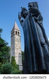 Split, Croatia, July 24, 2018: Statue of Gregory of Nin in Split, Croatia, sculpted by Ivan Mestrovic in 1929.