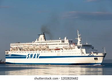 Split, Croatia, July 24, 2018: Aurelia ferry boat departing from the port of Split, Croatia