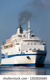 Split, Croatia, July 24, 2018: Aurelia ferry boat arriving to the port of Split, Croatia.