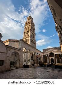 Split, Croatia, July 24, 2018: Saint Domnius Cathedral in Split, Croatia, originated in the 7th century AD in the Diocletian's Mausoleum