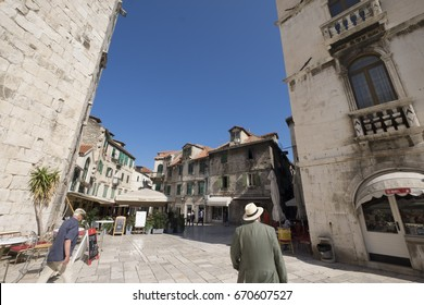 Split, Croatia - June 2, 2017: Panorama of Brace Radic square in the Old Town of Split. Old Town of Split