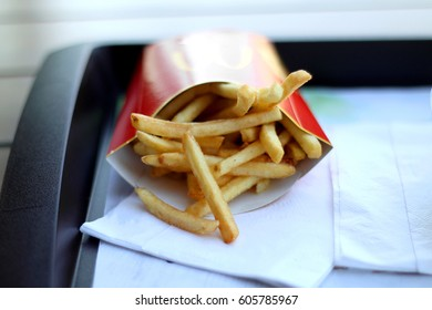 Split, Croatia - March 21, 2017: McDonald's french fries, one of the most popular fast food product in the world.