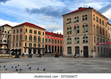 SPLIT, CROATIA - MARCH 8: Buildings in the city center of Split, Croatia on March 8, 2017. Split is a capital of Dalmatia region of Croatia.