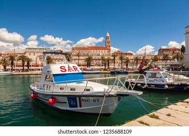 SPLIT, CROATIA: MAY 13, 2018 Coast guard boats in the harbour.