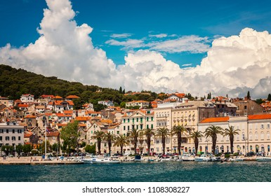 SPLIT, CROATIA - MAY 17, 2018. The harbour and Riva with its historical architecture.