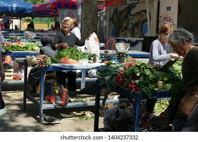 SPLIT, CROATIA - MAY 2, 2019 - Selling fruit and vegetables at the green market of Split, Croatia
