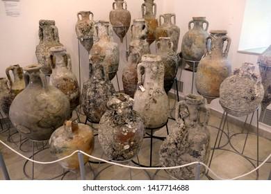 SPLIT, CROATIA - MAY 2, 2019 - Amphorae from ancient shipwrecks, Maritime Museum, Split, Croatia