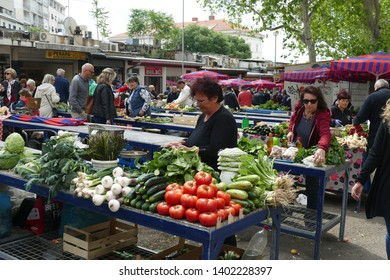 SPLIT, CROATIA - MAY 4, 2019 - Selling fruit and vegetables at the green market of Split, Croatia