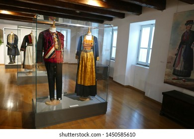 SPLIT, CROATIA - MAY 4, 2019 - Traditional clothing of Croatian villages from the 19th century,Ethnographic Museum, Split, Croatia
