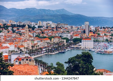 Split, Croatia (region of Dalmatia). UNESCO World Heritage Site. Diocletian Palace and Mosor mountains in background. Split panoramic view of town, Dalmatia, Croatia.