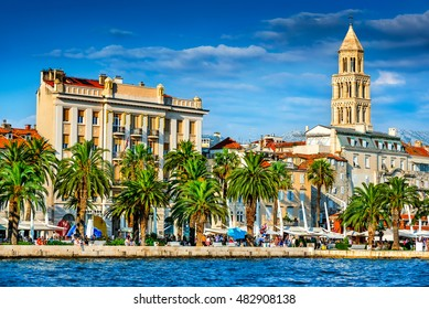 Split, Croatia. Split, Croatia (region of Dalmatia). UNESCO World Heritage Site. Diocletian Palace and Mosor mountains in background.