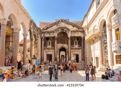 SPLIT, CROATIA - SEPTEMBER 2, 2009: Prothyron and Peristyle at the Diocletian Palace