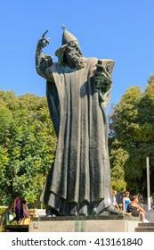 SPLIT, CROATIA - SEPTEMBER 2, 2009: Monumental bronze statue of Bishop Gregory of Nin created in 1929 by Ivan Mestrovic