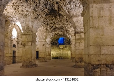 SPLIT, CROATIA - SEPTEMBER 2, 2009: Diocletian's Palace substructures of vaulted ceilings.