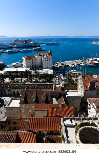 Split, Croatia - September 3, 2016 Old City from the Tower and Cruise Ships in the Sea Port