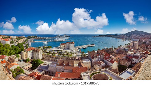 Split, Croatia. View of Split the second largest city of Croatia at dramatic sunlight. Shore of the Adriatic Sea and famous Palace of the Emperor Diocletian. Travel concept. Aerial view of Split coast