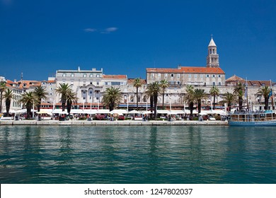 SPLIT, CROATIA-JUNI 05, 2018: Historic city center in Split. Home to Diocletian's Palace, built for the Roman emperor in AD 305