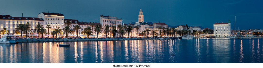 SPLIT, CROATIA-JUNI 08, 2018: Panoramic view of the Rive promenade and the old town of Split in Croatia. Split is the second largest city in Croatia. The city is on the list of Unesco monuments.