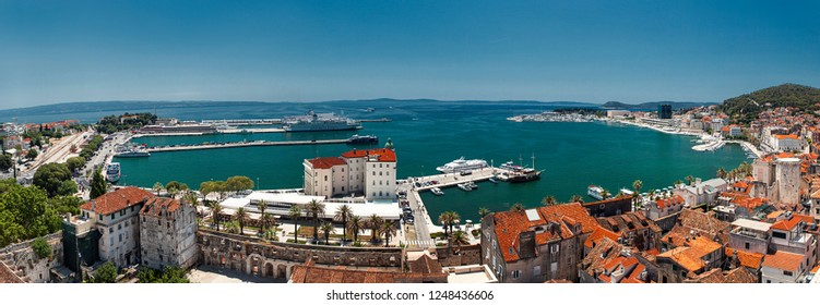 SPLIT, CROATIA-JUNI 08, 2018: Panoramic view of the harbor and marine in Split in Croatia. Split is the second largest city in Croatia. The city is on the list of Unesco monuments.