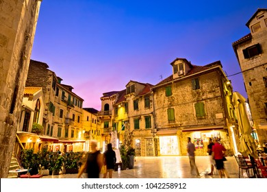 Split Diocletian's palace street evening view, Dalmatia region of Croatia