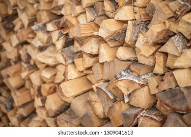 split firewood stacked