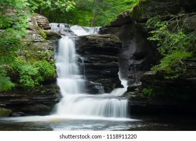 Split flow waterfall