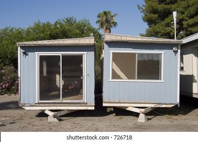 A split in half mobile home.