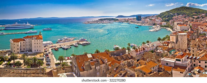 Split historic waterfront panoramic aerial view, Dalmatia, Croatia