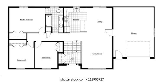 Split Level House Floor Plan with Room Names