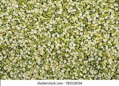 Split Mung Bean Lentils Also Know as Mungbean, Green Moong Bean, Mung Gram, Vigna Radiata, Green Gram, Golden Gram Legumes, Moong Bean, Moong Dal, Green Bean or Mung Daal.
