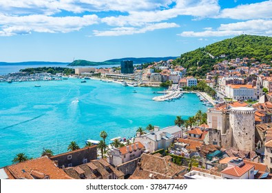 Split panoramic view of town, Dalmatia, Croatia.