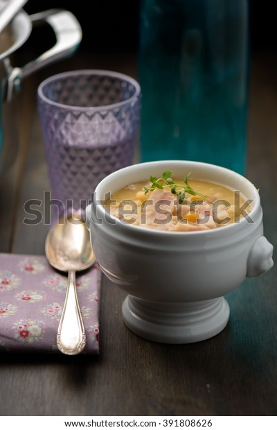 Split pea soup in a white bowl