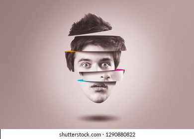 Split personality concept. Isolated cutout head of young man with identity disorder
