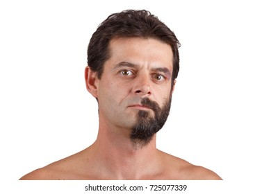 split personality - portrait of man with half shaved and unshaven face
