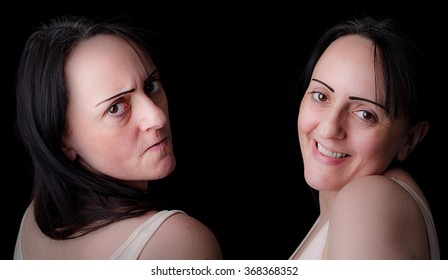Split personality. Woman showing angry, irritated side and a caring, kind side. Black background with copy space.