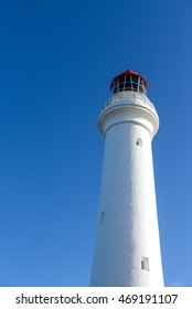 Split Point Lighthouse under beautiful blue sky at Aireys Inlet, a small town on the Great Ocean Road, Victoria, Australia
