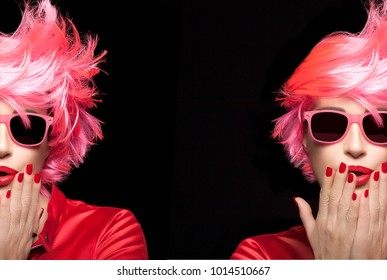 Split portrait of a beauty model girl with colorful pink dyed hair in a modern flyaway hairstyle wearing trendy red lipstick and nail varnish and pink fashion sunglasses over black with copy space