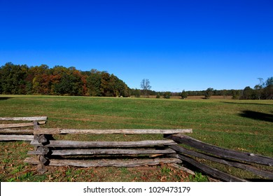 Split Rail Fence and Field at Appomattox Court House National Park in Virginia