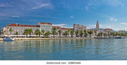 Split Riva view with Diocletian palace, Dalmatia, Croatia