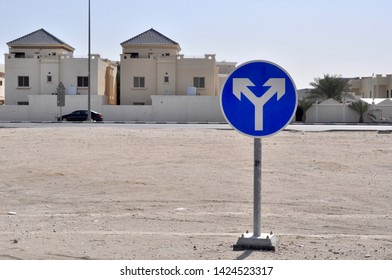 Split road ahead sign, concept for diversion, concept for uncertainty decision, dilemma
