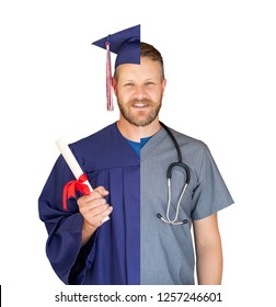 Split Screen of Caucasian Male As Graduate and Nurse Isolated On White.