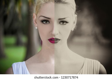 Split screen of color and vintage black and white beautiful young blond woman wearing a white dress looking directly into the camera