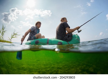 Split shot of two fishermen in the boat and underwater view of the bottom